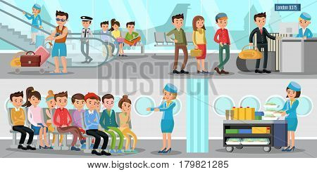 Airport horizontal banners with people in departure lounge passengers and stewardesses on air flight vector illustration