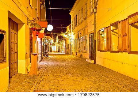 Ancient Cobbled Street Of Varazdin Evening View