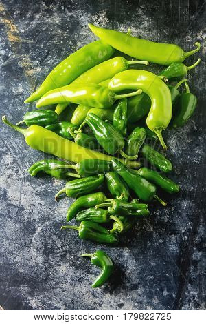 Green, Fresh Jalapeno Peppers. Spicy Mexican Food. Dark Backgrou