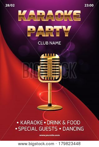 Karaoke party invitation flyer template. Red curtain on the abstract background. Light and glare. Gold retro microphone in center. A4 size.