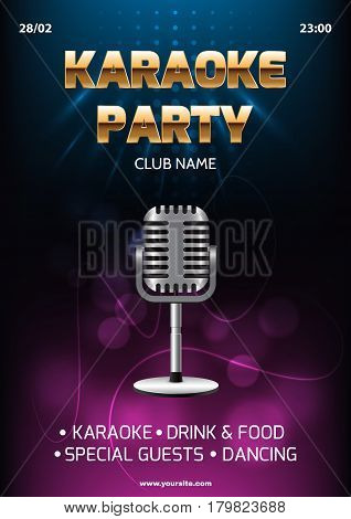 Karaoke party invitation flyer template. Dark background with abstract light and glare. Silver retro microphone in center. A4 size.