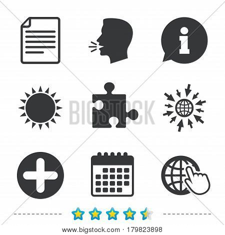 Plus add circle and puzzle piece icons. Document file and globe with hand pointer sign symbols. Information, go to web and calendar icons. Sun and loud speak symbol. Vector