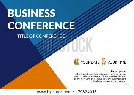 Business conference invitation concept. Colorful simple geometric background. Template for banner, poster, flyer, magazine page.