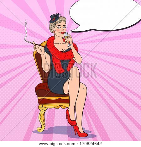 Beautiful Woman with Glass of Champagne. Femme fatale. Pop Art Retro vector illustration