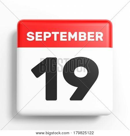 September 19. Calendar On White Background.