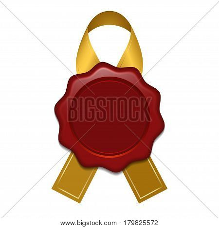Realistic wax stamp with gold ribbon. Clean seal isolated on white background. Vector illustration.