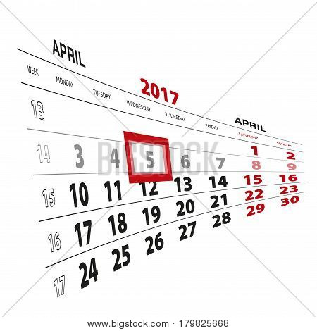 5 April Highlighted On Calendar 2017. Week Starts From Monday.