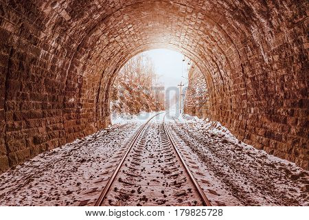 View of the old tunnel. Circum-Baikal Railway. Russia.