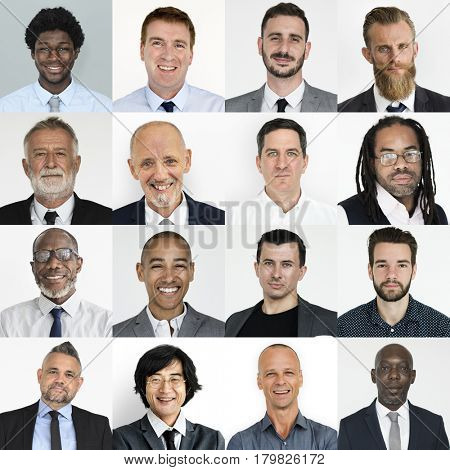Collection of headshot businessman investor with face expression poster