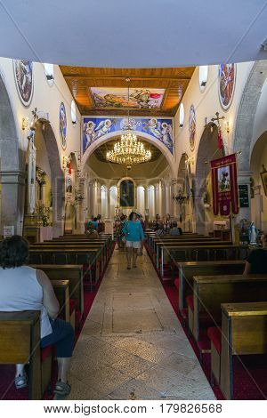 PRIMOSTEN, CROATIA - SEPTEMBER 10, 2016: This is interior of the church of St. George.