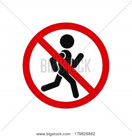 No run sign on white background vector isolated illustration.