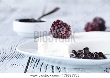 Homemade Blackberry Ice Lolly On A Rustic Background