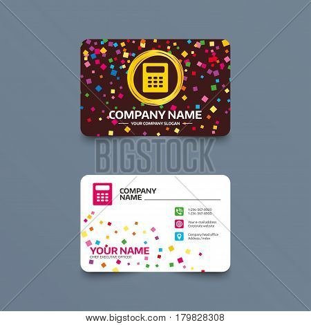 Business card template with confetti pieces. Calculator sign icon. Bookkeeping symbol. Phone, web and location icons. Visiting card  Vector