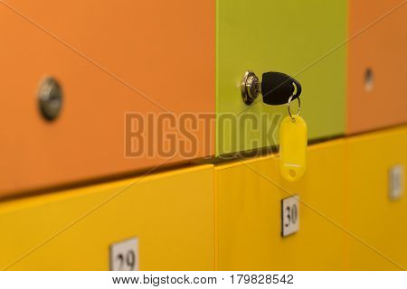 colorful lockers with key. background. clouse up