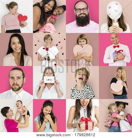 Set of people collage with love sign and gift studio shoot