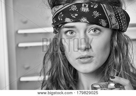 Pretty Hippie Girl In Bandana With Glass