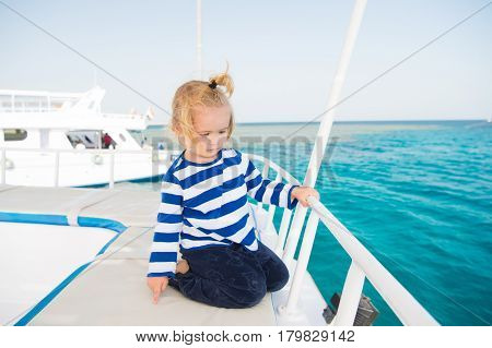 Small Baby Boy Sailor, Captain Of Yacht In Marine Shirt