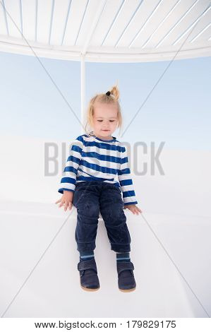 Small Happy Baby Boy On Yacht In Marine Shirt, Fashion
