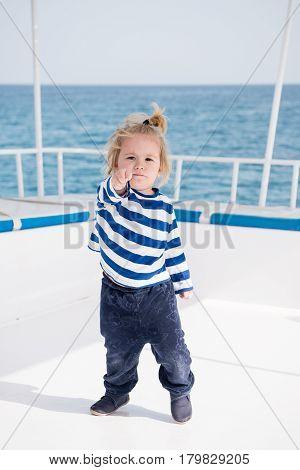 Little Baby Captain On Boat On Summer Cruise, Nautical Fashion