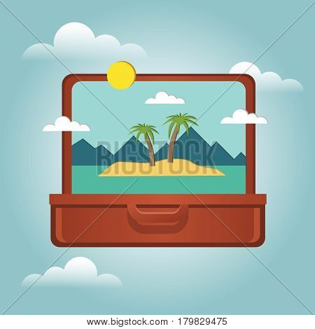 Open Suitcase With A Tropical Island Inside. Traveling And Tourism. Vector Illustation