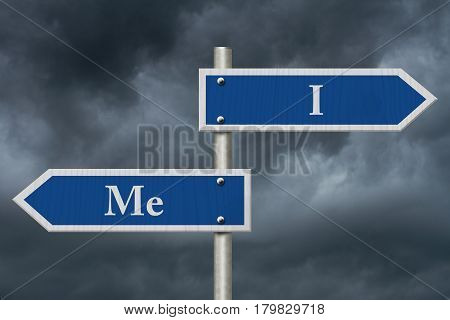 Learning to use proper grammar Blue road sign with words I Me with stormy sky background 3D Illustration