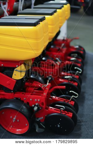 Pneumatic seed drills on agricultural exhibition