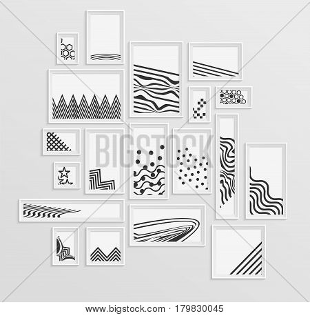 Different pictire frames with simple grey monochome geometric patters on white wall. Set of realistic borders for art gallery mockup, wallpaper design, fully editable, you can move any object