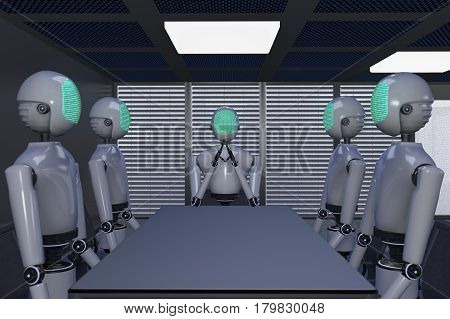 Robots display a binary code in an office (3d rendering)