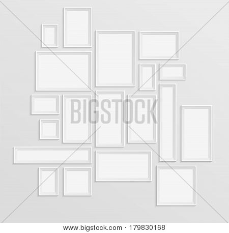 Different white frames set on the wall with shadow effect in modern composition. Vector templates or mockup for your photo or art gallery