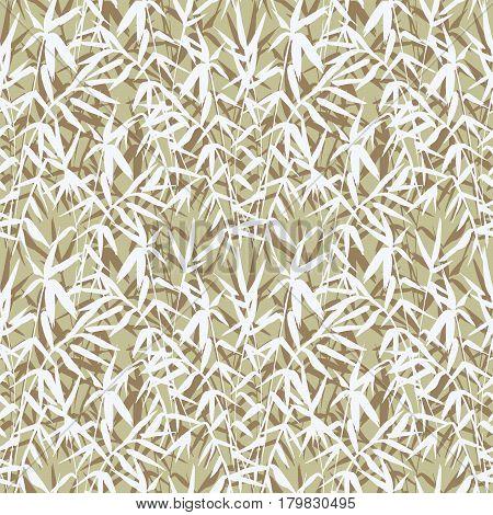 Bamboo seamless pattern on green background in japanese style, light fresh leaves, zen-like realistic design, vector illustration