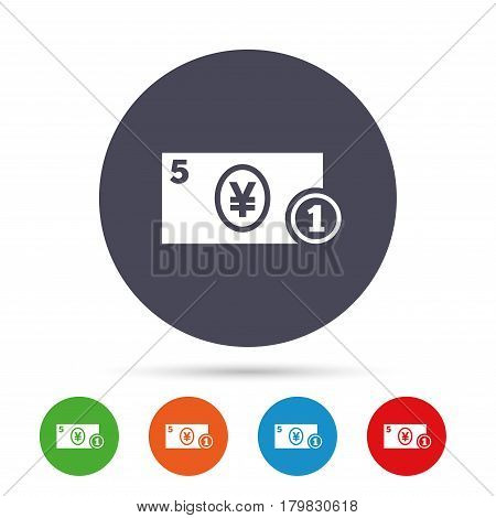 Cash sign icon. Yen Money symbol. JPY Coin and paper money. Round colourful buttons with flat icons. Vector