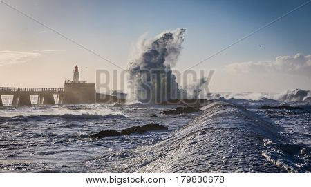 Storm on the great jetty of La Chaume (Les Sables d'Olonne, France)