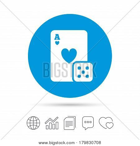 Casino sign icon. Playing card with dice symbol. Copy files, chat speech bubble and chart web icons. Vector