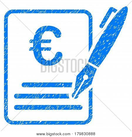 Grunge Euro Contract Signature rubber seal stamp watermark. Icon symbol with grunge design and dust texture. Unclean vector blue sign.