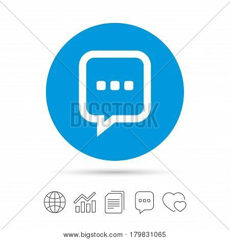 Chat sign icon. Speech bubble with three dots symbol. Communication chat bubble. Copy files, chat speech bubble and chart web icons. Vector