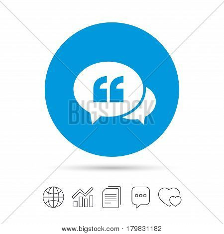 Chat Quote sign icon. Quotation mark symbol. Double quotes at the beginning of words. Copy files, chat speech bubble and chart web icons. Vector