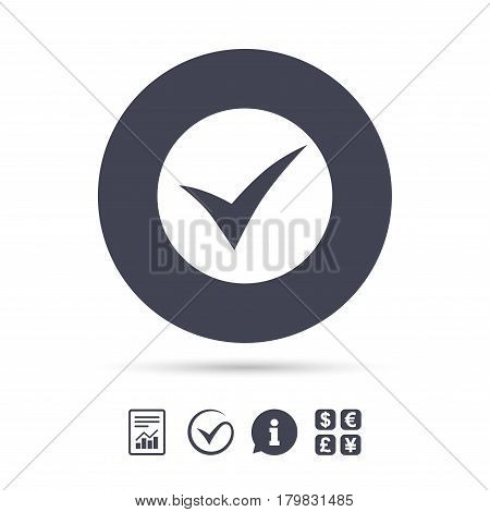 Check sign icon. Yes symbol. Confirm. Report document, information and check tick icons. Currency exchange. Vector
