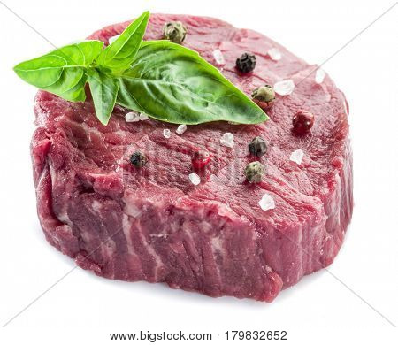 Piece of beef tenderloin isolated on the white background.