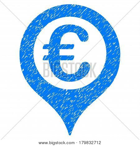 Grunge Euro Geotargeting rubber seal stamp watermark. Icon symbol with grunge design and scratched texture. Unclean vector blue emblem.