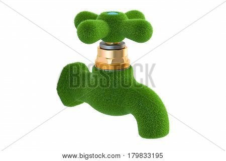 Water tap from grass. Eco concept. 3D rendering isolated on white background
