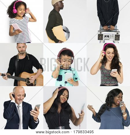 Diverse people listening to music enjoyment collection