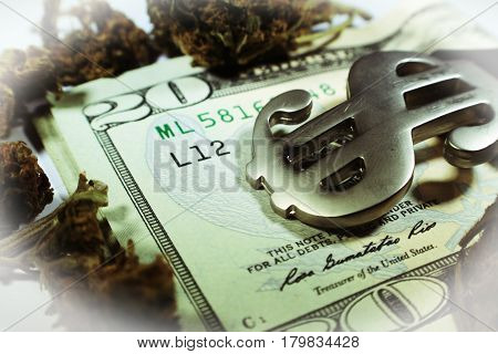 Money And Marijuana Close Up High Quality