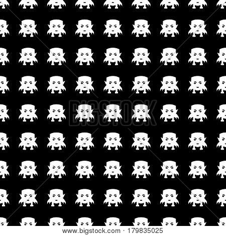 Emoji baby vampires motif graphic illustration seamless pattern design in black and white colors