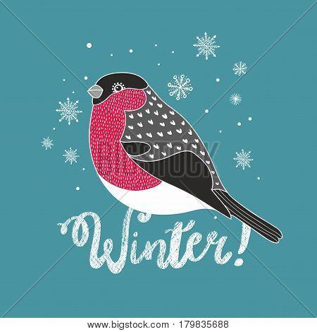 Doodle bullfinch illustration. Creative vector print of winter.