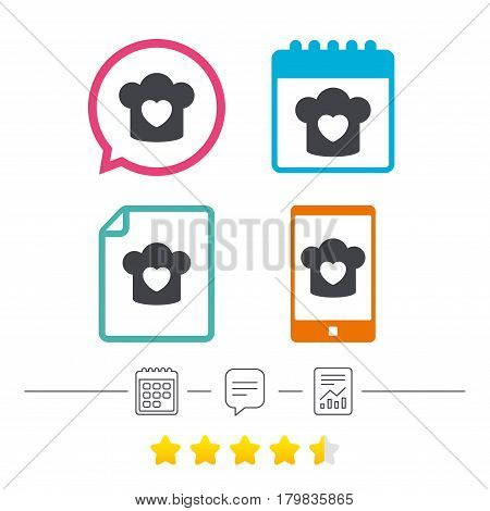 Chef hat sign icon. Cooking symbol. Cooks hat with heart love. Calendar, chat speech bubble and report linear icons. Star vote ranking. Vector