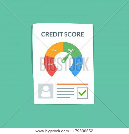 Credit score document vector concept. Personal credit history of the customer on a paper sheet. Good index of credit history and approved stamp. Flat vector illustration isolated on color background