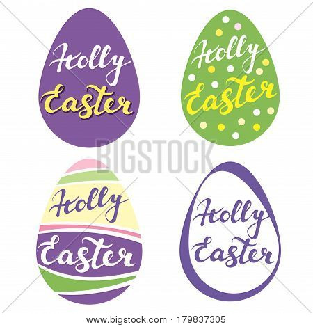 collection of Easter eggs, r religious symbol of Christianity hand drawn greetings logo vector illustration