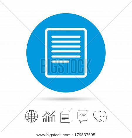 Text file sign icon. File document symbol. Copy files, chat speech bubble and chart web icons. Vector