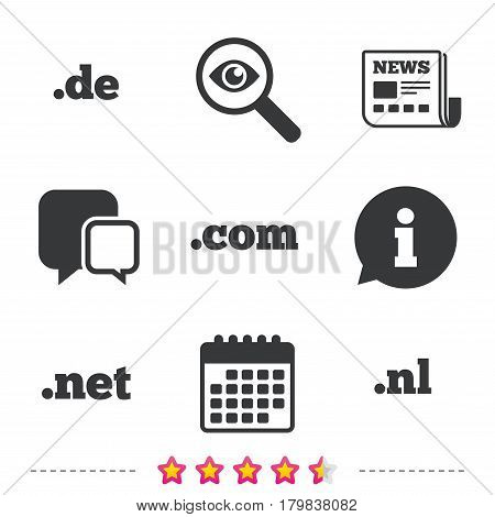 Top-level internet domain icons. De, Com, Net and Nl symbols. Unique national DNS names. Newspaper, information and calendar icons. Investigate magnifier, chat symbol. Vector