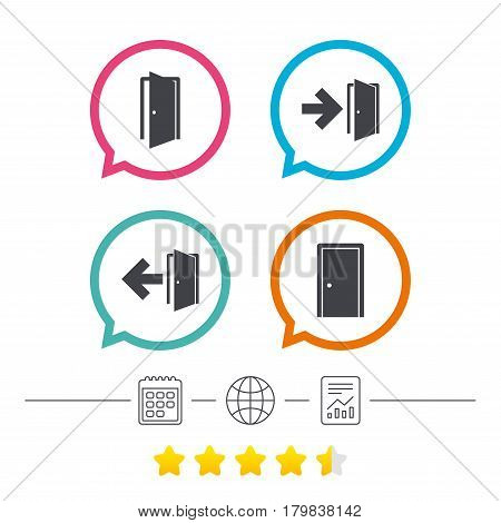 Doors icons. Emergency exit with arrow symbols. Fire exit signs. Calendar, internet globe and report linear icons. Star vote ranking. Vector